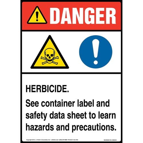 Danger: Herbicide, See Container Label And Safety Data Sheet Sign with Icons - ANSI, Long Format (015347)