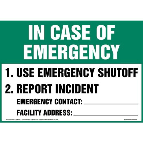 In Case Of Emergency Sign - OSHA (015351)