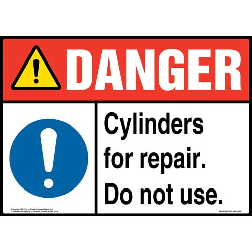 Danger: Cylinders For Repair, Do Not Use Sign with Icon - ANSI (015354)