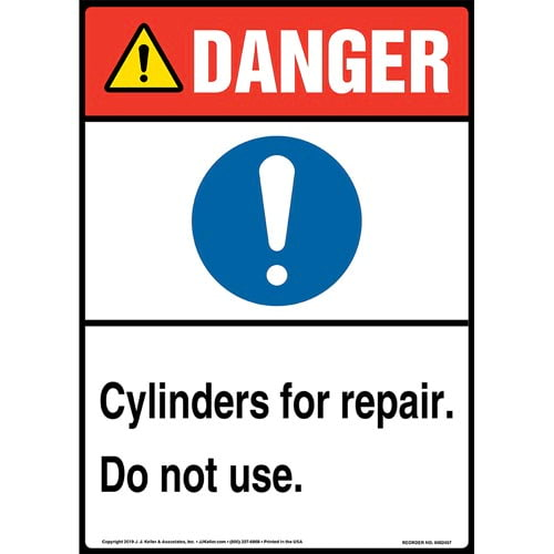 Danger: Cylinders For Repair, Do Not Use Sign with Icon - ANSI, Long Format (015355)