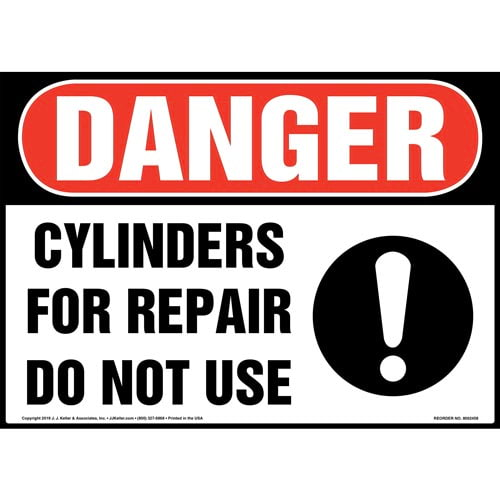 Danger: Cylinders For Repair, Do Not Use Sign with Icon - OSHA (015356)