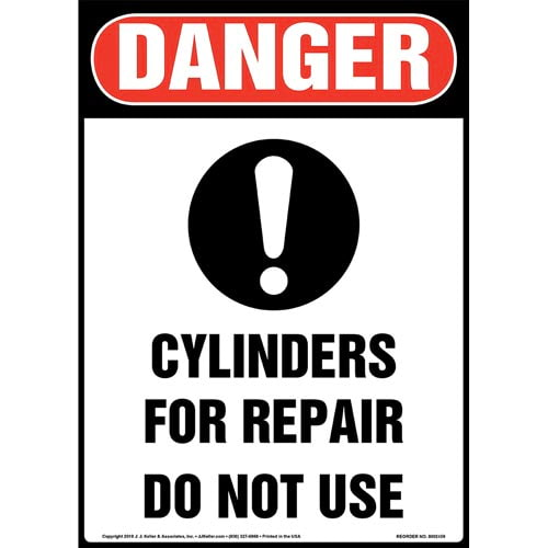 Danger: Cylinders For Repair, Do Not Use Sign with Icon - OSHA, Long Format (015357)