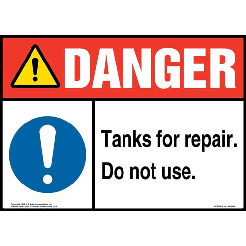 Danger: Tanks For Repair, Do Not Use Sign with Icon - ANSI (015358)