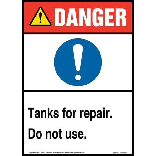 Danger: Tanks For Repair, Do Not Use Sign with Icon - ANSI, Long Format (015359)