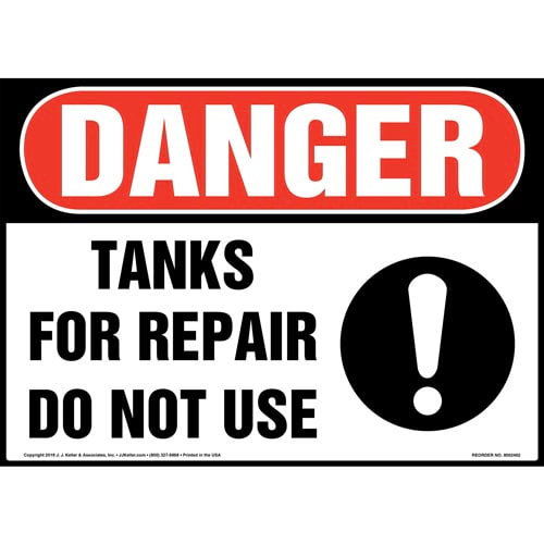 Danger: Tanks For Repair, Do Not Use Sign with Icon - OSHA (015360)