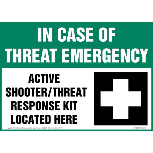 In Case Of Threat Emergency, Active Shooter / Active Threat Response Kit Sign with Icon - OSHA (015363)