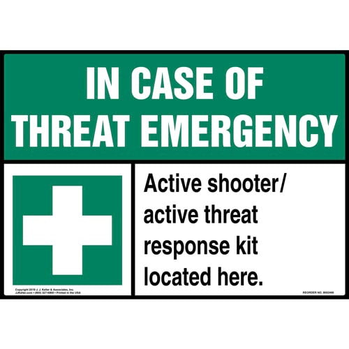 In Case Of Threat Emergency, Active Shooter / Active Threat Response Kit Sign with Icon - ANSI (015364)