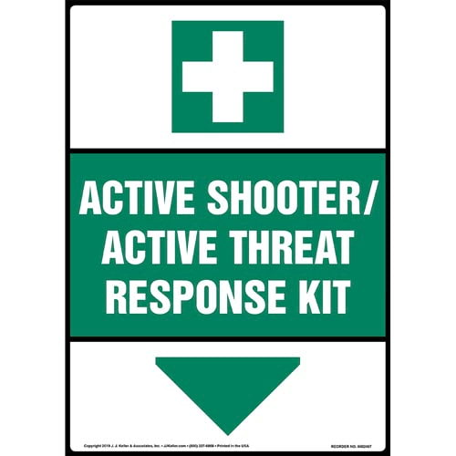 Active Shooter / Active Threat Response Kit Sign with Icon - ANSI, Long Format (015365)