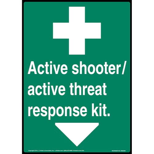 Green Active Shooter / Active Threat Response Kit Sign with Icon - ANSI, Long Format (015366)