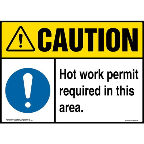 Caution: Hot Work Permit Required In This Area Sign with Icon - ANSI (015375)