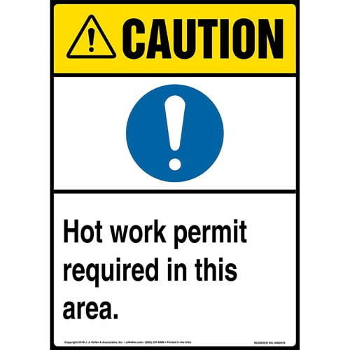Caution: Hot Work Permit Required In This Area Sign with Icon - ANSI, Long Format (015376)