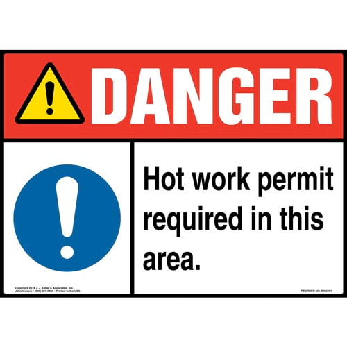 Danger: Hot Work Permit Required In This Area Sign with Icon - ANSI (015379)