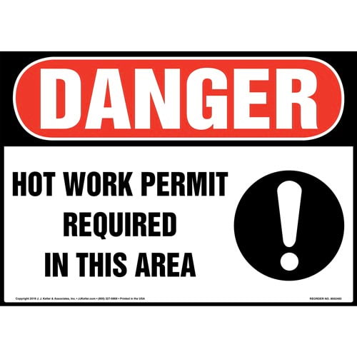 Danger: Hot Work Permit Required In This Area Sign with Icon - OSHA (015381)