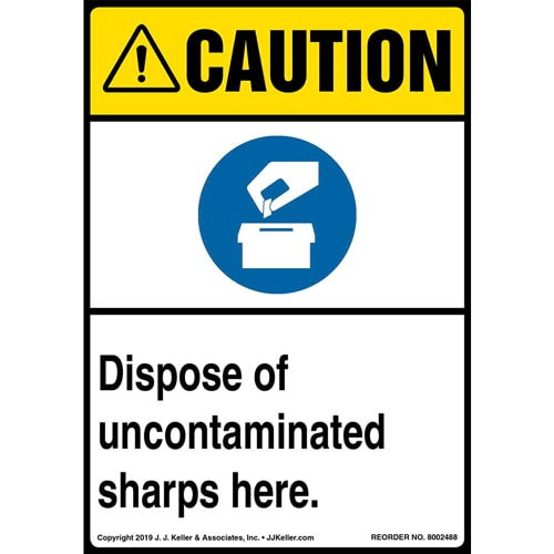 Caution: Dispose Of Uncontaminated Sharps Here Label with Icons - ANSI, Long Format (015500)