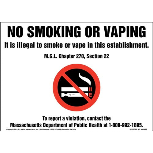 No Smoking Or Vaping, It Is Illegal To Smoke Or Vape In This Establishment Sign with Icon (015440)