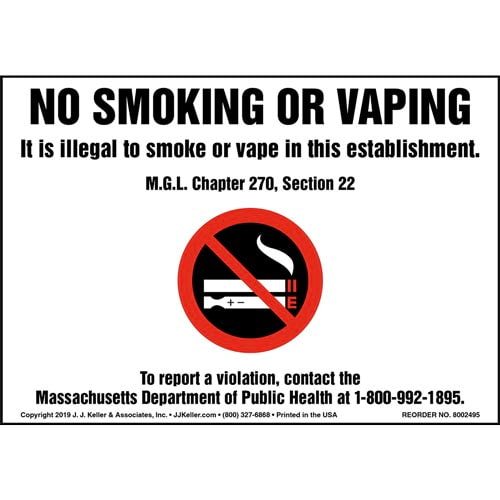 No Smoking Or Vaping, It Is Illegal To Smoke Or Vape In This Establishment Label with Icon (015441)