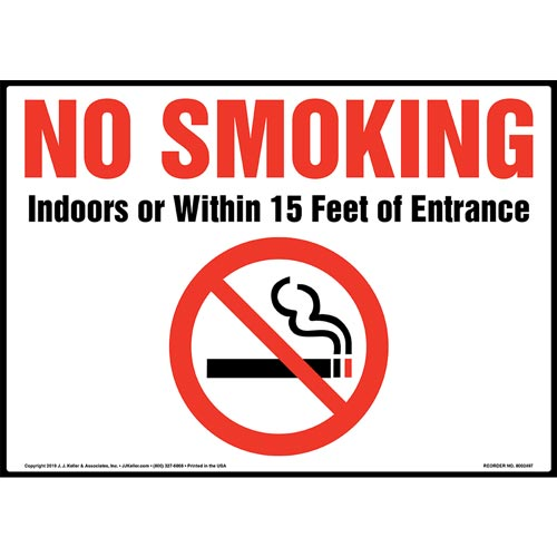 No Smoking Indoors Or Within 15 Feet Of Entrance Sign with Icon (015443)