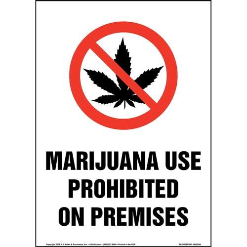 Marijuana Use Prohibited On Premises Sign with Icon - Portrait (015446)