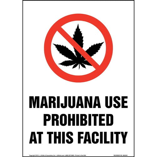 Marijuana Use Prohibited At This Facility Sign with Icon - Portrait (015447)
