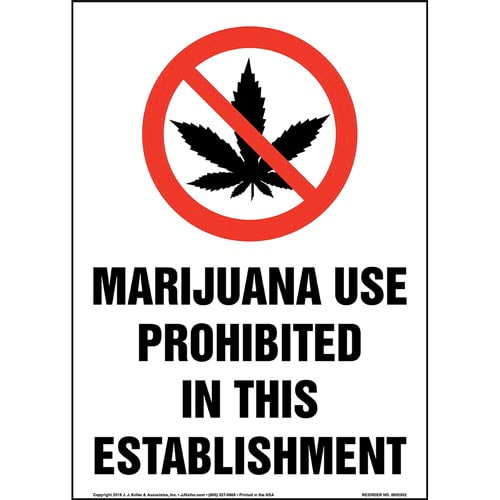 Marijuana Use Prohibited In This Establishment Sign with Icon - Portrait (015448)