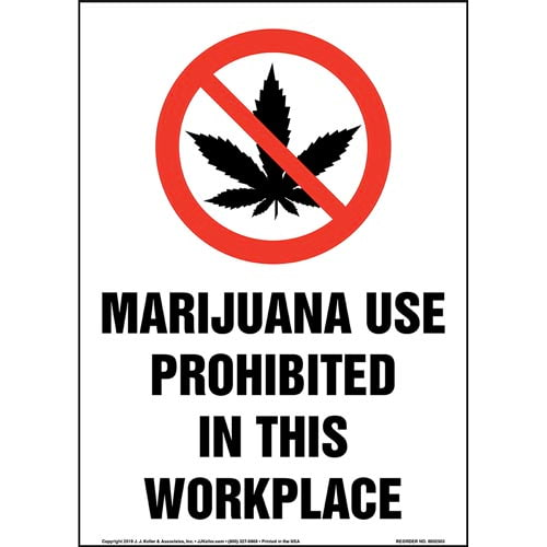 Marijuana Use Prohibited In This Workplace Sign with Icon - Portrait (015449)