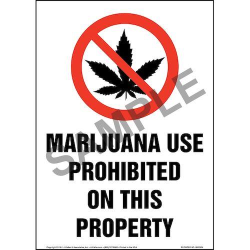 Marijuana Use Prohibited On This Property Sign with Icon - Portrait (015450)