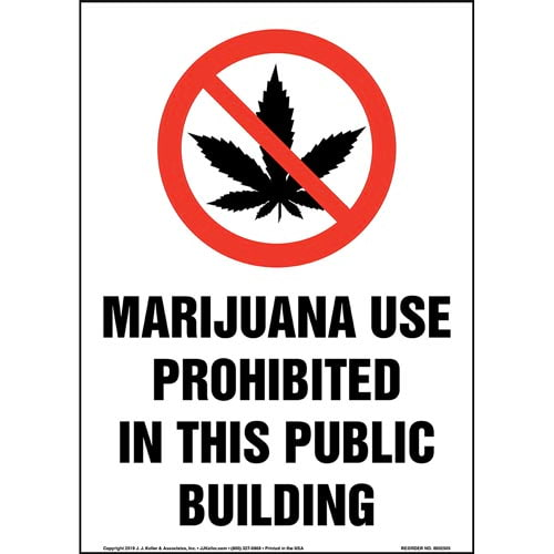 Marijuana Use Prohibited In This Public Building Sign with Icon - Portrait (015451)