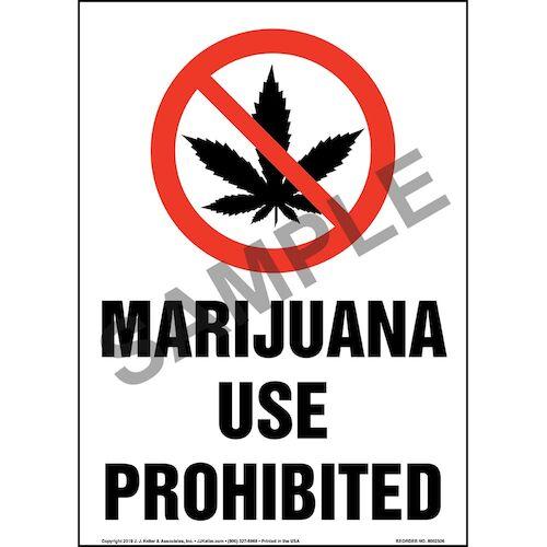 Marijuana Use Prohibited Sign with Icon - Portrait (015452)