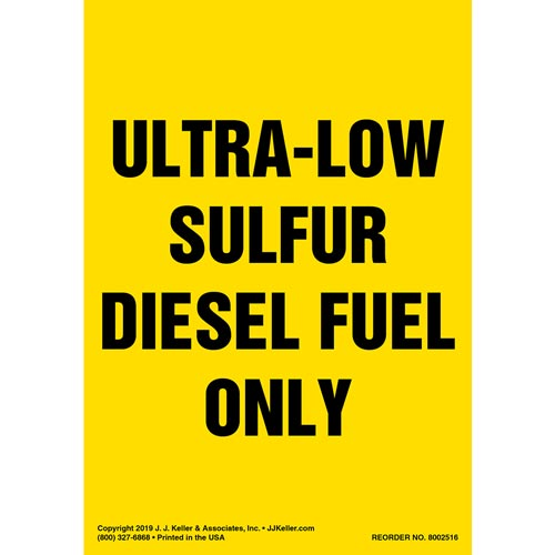 Ultra-Low Sulfur Diesel Fuel Only Label - Portrait (015508)
