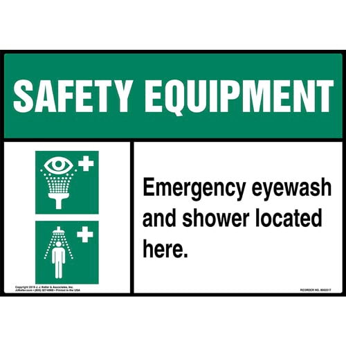 Safety Equipment: Emergency Eyewash And Shower Located Here Sign with Icons - ANSI (015509)