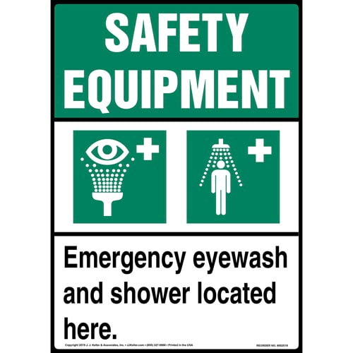 Safety Equipment: Emergency Eyewash And Shower Located Here Sign with Icons - ANSI, Long Format (015510)