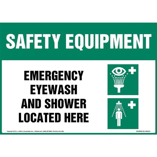 Safety Equipment: Emergency Eyewash And Shower Located Here Sign with Icon - OSHA (015511)