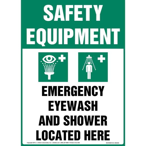 Safety Equipment: Emergency Eyewash And Shower Located Here Sign with Icon - OSHA, Long Format (015512)