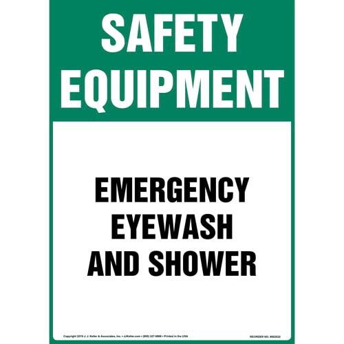 Safety Equipment: Emergency Eyewash And Shower Sign - OSHA, Long Format (015514)
