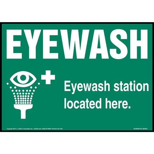 Green Eyewash Station Located Here Sign with Icon - Landscape (015515)