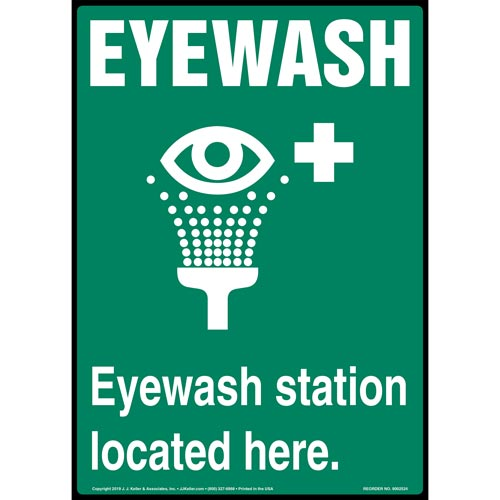 Green Eyewash Station Located Here Sign with Icon - Portrait (015516)