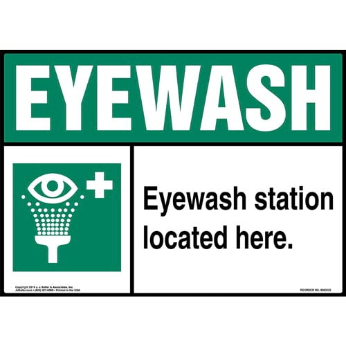 Eyewash Station Located Here Sign with Icon - Landscape (015517)