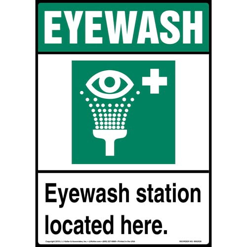 Eyewash Station Located Here Sign with Icon - Portrait (015518)