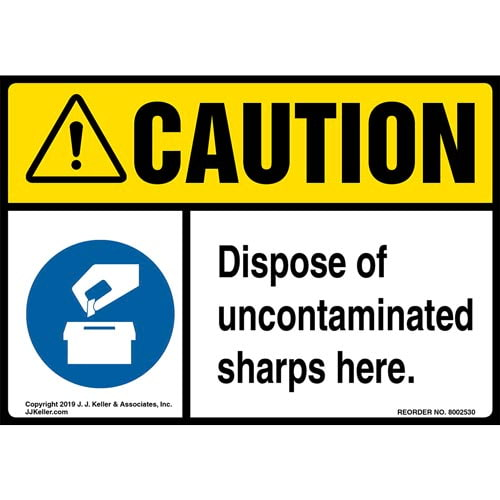 Caution: Dispose Of Uncontaminated Sharps Here Label with Icons - ANSI (015499)