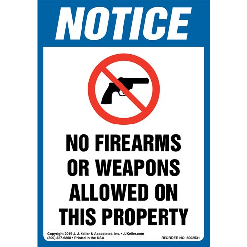 Notice: No Firearms Or Weapons Allowed On This Property Label with Icon - OSHA, Long Format (015669)