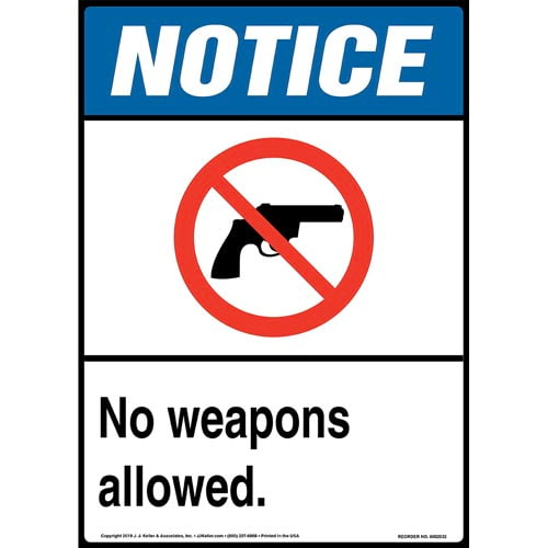Notice: No Weapons Allowed Sign with Icon - ANSI, Long Format (015670)