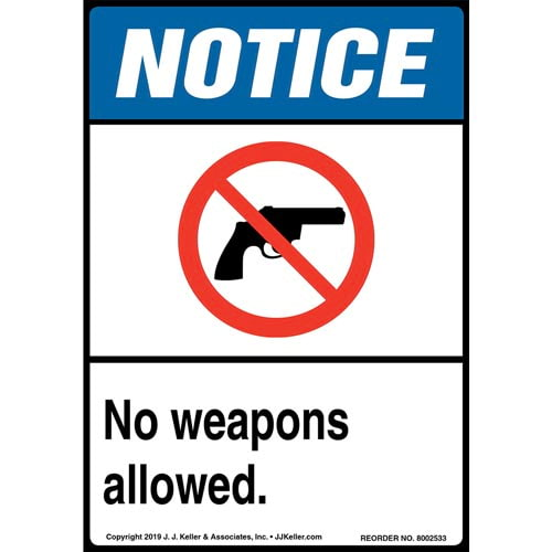 Notice: No Weapons Allowed Label with Icon - ANSI, Long Format (015671)