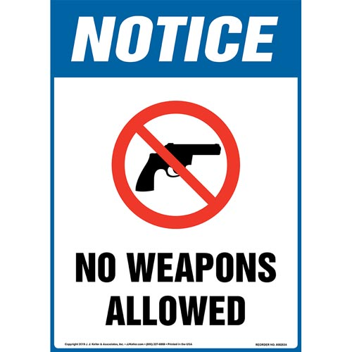 Notice: No Weapons Allowed Sign with Icon - OSHA, Long Format (015672)