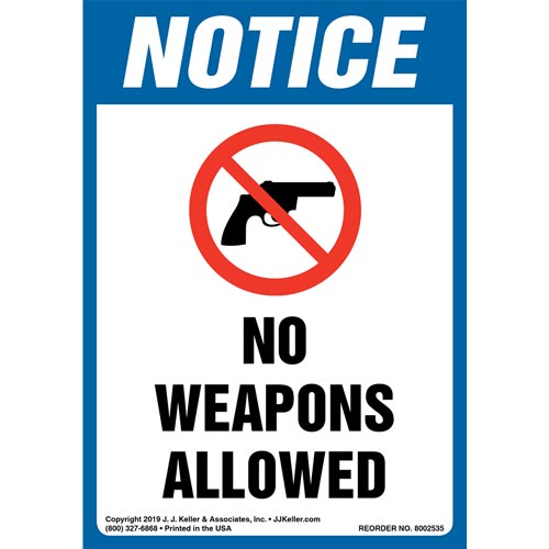 Notice: No Weapons Allowed Label with Icon - OSHA, Long Format (015673)