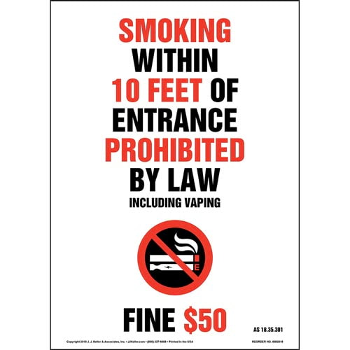 Alaska Smoking Within 10 Feet Of Entrance Prohibited Sign with Icon - Portrait (015712)