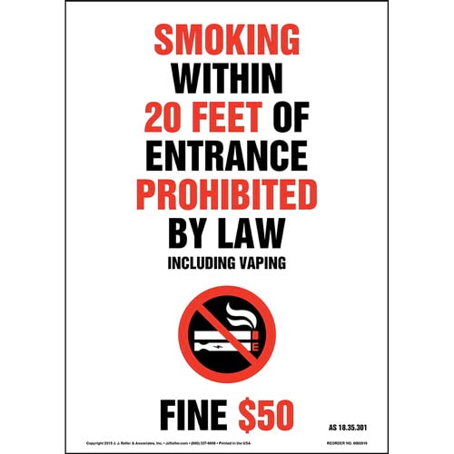 Alaska Smoking Within 20 Feet Of Entrance Prohibited Sign with Icon - Portrait (015713)
