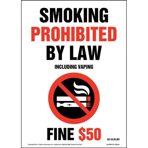 Alaska Smoking Prohibited By Law Including Vaping Sign with Icon - Portrait (015715)