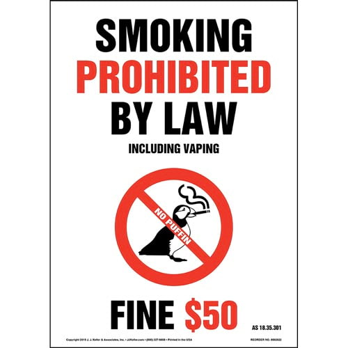 Alaska Smoking Prohibited By Law Including Vaping Sign - Portrait (015716)
