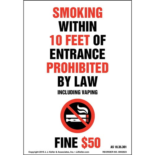 Alaska Smoking Within 10 Feet Of Entrance Prohibited Label with Icon - Portrait (015717)