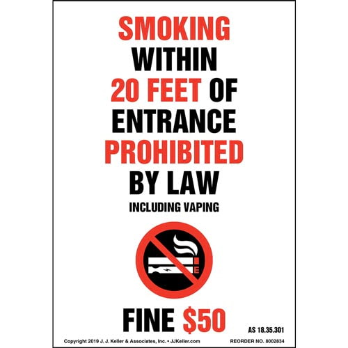 Alaska Smoking Within 20 Feet Of Entrance Prohibited Label with Icon - Portrait (015718)